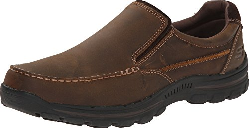 Skechers USA Men's Braver Rayland Slip-On Loafer,Dark Brown Leather,9.5 M US