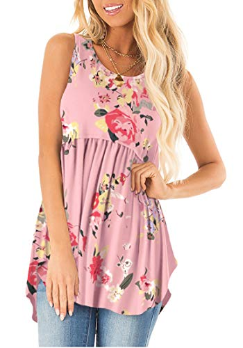 (Sousuoty Summer Floral Shirts for Women Sleeveless Tunic Tops Round Neck Pink M)