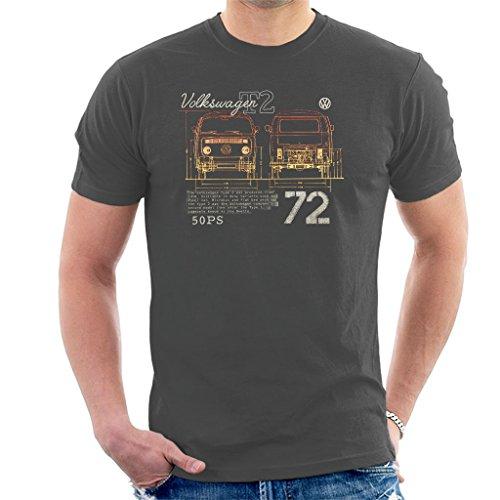 Volkswagen T2 Mini Van 72 Men's T-Shirt Charcoal ()