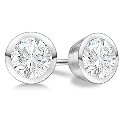 18k Gold 4ct Push Back Designer Diamond Solitaire Earrings 18Kt White Gold H SI