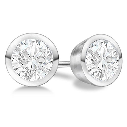 - 0.5ct Luxury Bezel Fancy Stud Diamond Earrings Platinum H-I SI