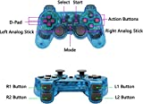 2pcs Pack PS2 Wireless Controller, Double Vibration Gamepad Remote for Sony PS2 Playstation 2