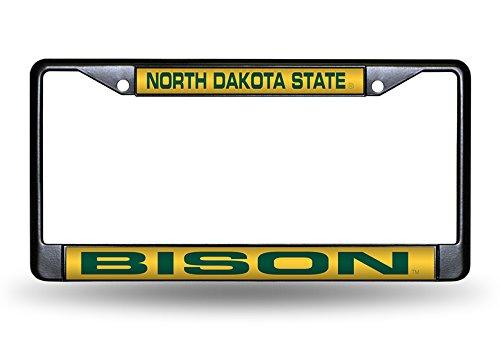 Rico Industries NCAA North Dakota State Bison Laser Cut Inlaid Standard Chrome License Plate Frame, 6