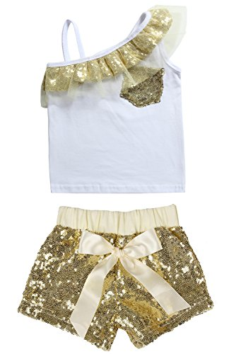 Cilucu Baby Girls Tees Toddlers Sequin Ruffles Cold Shoulder Tank Tops Gold 3t by Cilucu