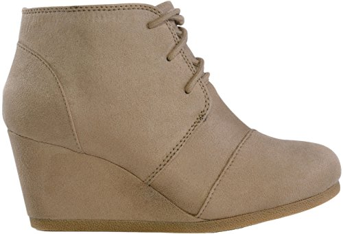 (MARCOREPUBLIC Galaxy Womens Wedge Boots - (Taupe) - 7)