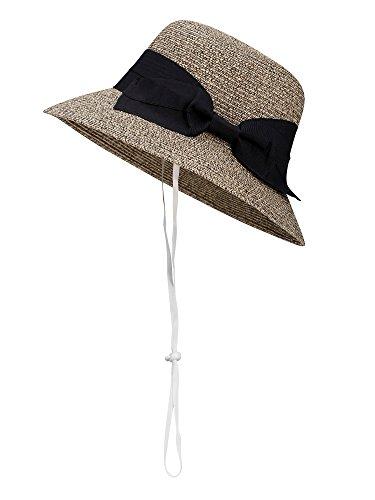 D Diana Dickson Womens Summer Beach Sun Straw Bucket Hat w/Bow,Mix Beige Coffee