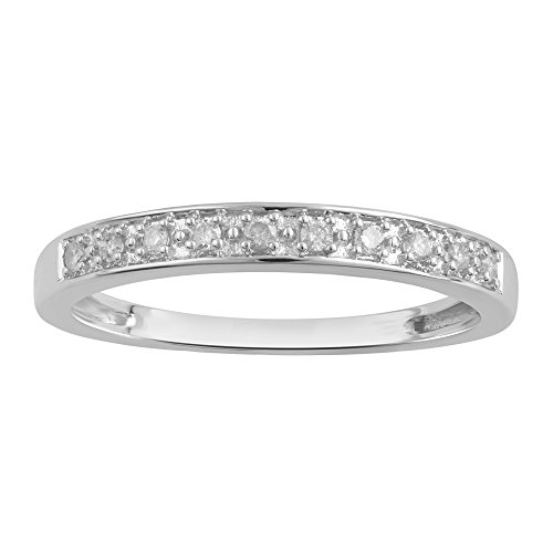 Sterling Silver Diamond Wedding Band (1/10 cttw,I-J Color, I3 Clarity), Size 7 ()