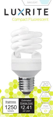 Luxrite LR20193 (4-Pack) 20-Watt CFL T2 Mini Spiral Light Bulb, Equivalent To 75W Incandescent, Daylight 6500K, 1300 Lumens, E26 Standard Base (Natural Spectrum Lightbulbs compare prices)