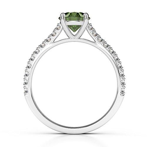 Or blanc 18carats 1CT G-H/VS sertie de diamants ronds Cut Tourmaline verte et bague de fiançailles Agdr-1213
