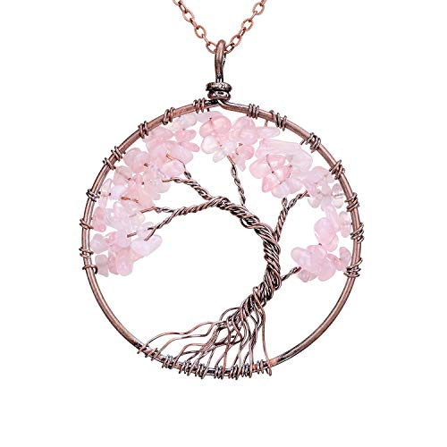 Natural Tumbled Raw Rose Quartz Family Root Tree of Life Stone Pendant Necklace Wisdom Wire Wrapped Tree of Life 2 Inch Pendant Semi Precious Rose Gemstone Necklace Healing Jewelry Gift ()