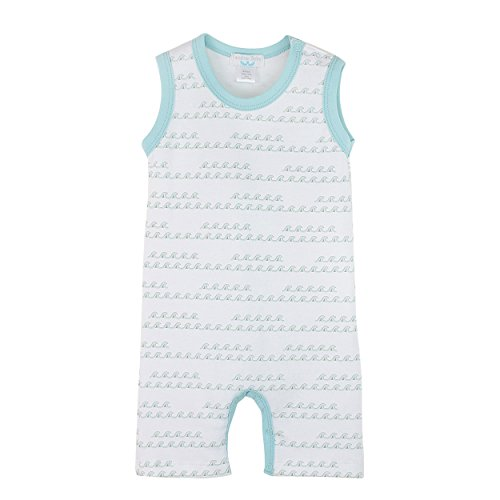 Feather Baby Boys Clothes Pima Cotton Sleeveless One-Piece Tank Shortie Romper, 3-6 months, Wave in Aqua