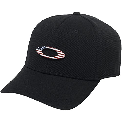 Oakley Men's Tincan Cap Hat, Black/American Flag, (Elite Stretch Hat)