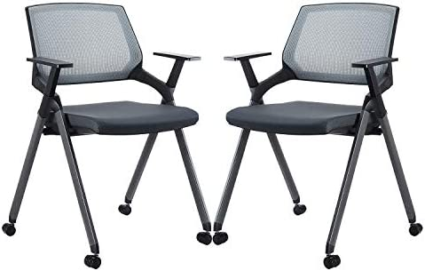 Grey 4 Pack CLATINA Mesh Guest Reception Stack Chairs with Caster Wheels and Arms for Office School Church Conference Waiting Room Black