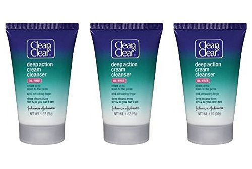 Clean & Clear Deep Action Cream Cleanser, 1 Oz Travel Size (Pack of 3)