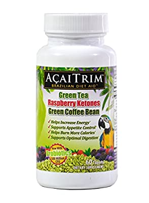 AcaiTrim Weight Loss Supplement-Green Tea, Green Coffee Bean, Raspberry Ketones, Acai, Plus Probiotics - 60 Count