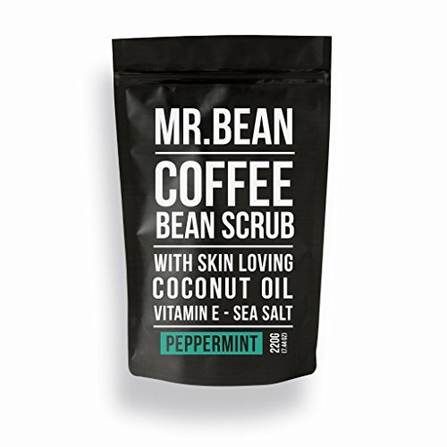 (Mr. Bean Organic All Natural Coffee Bean Exfoliating Body Skin Scrub with Coconut Oil, Vitamin E, and Sea Salt - Peppermint)