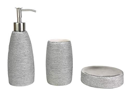 Ceramic Bathroom Accessory Metallic 3 Piece Set Bathroom Ensemble Sets for Bath Decor, Ideas Home Gift (Silver) (Bathroom Accessories Silver)