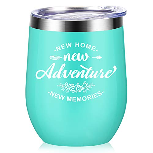 New Adventures New Home New Memories - House Warming Presents Housewarming Gifts For Women - First Time New Home House Owner Homeowner Gifts for Men, Friends - 12 oz Wine Tumbler Cup with Lid - Mint