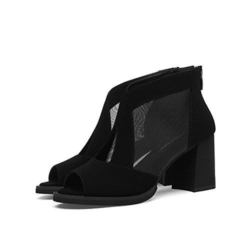 Épaisse Maman Hauts Noir Rome Nouvelle Femmes Talons Sandales Pour Chaussures Avec L'extérieur Fil Dames Net À Décontracté awXqZz5