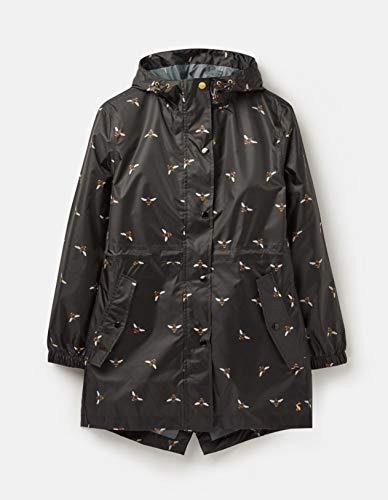 Joules Women's Golightly Print Waterproof Packaway Jacket Black Bee Size ()