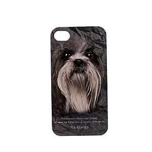 Caso duro de la serie de los animales patrón shih tzu de plástico para el iphone 4/4s