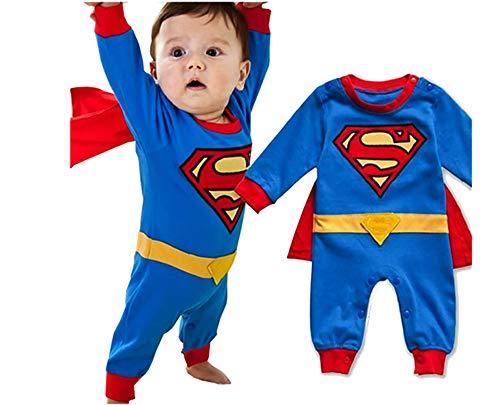 VogueFashion Halloween: Baby Superhero Jumpsuit with Removable Cape (18-24 Months, Superman1)