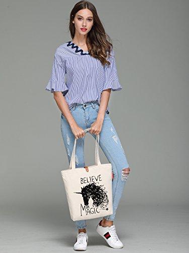 So'each Women's Believe Magic Unicorn Graphic Handbag Canvas Tote Shopping Bag