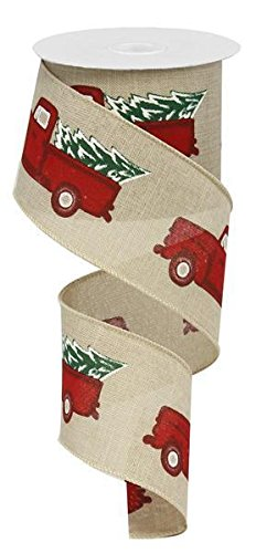 Vintage Red Truck With Christmas Tree Wired Ribbon 2.5