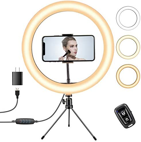 YOTOCversion 12 inch Selfie Ring Light with Stand, Dimmable Desk Makeup Ring Light for TikTok/YouTube/Photography Vlogging/Live Streaming, Compatible with iPhone 12/11 Pro/X /8/8 Plus,Samsung/HTC