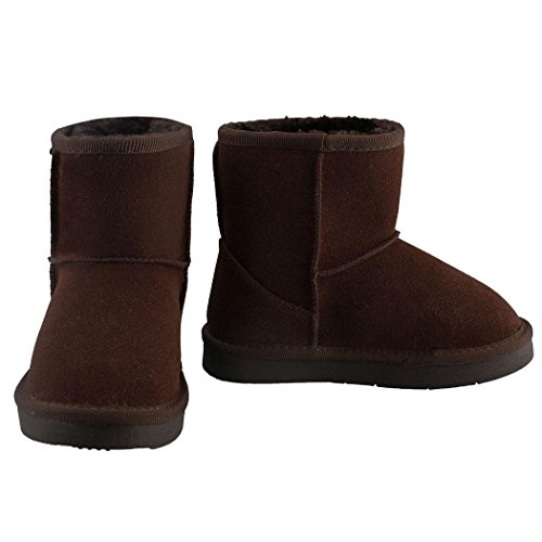 begorey Kinder Stiefel Gefütterte Boots Booties Winterstiefel Warme Watte Gepolsterten Schuhe Winterschuhe Schneestiefel Kaffee