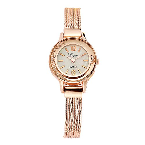 Women Rose Gold Plated Alloy Rhinestone Dial Bracelet Wrist Watch Gift Gold - 6