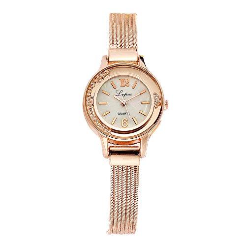 Women Rose Gold Plated Alloy Rhinestone Dial Bracelet Wrist Watch Gift Gold - 5