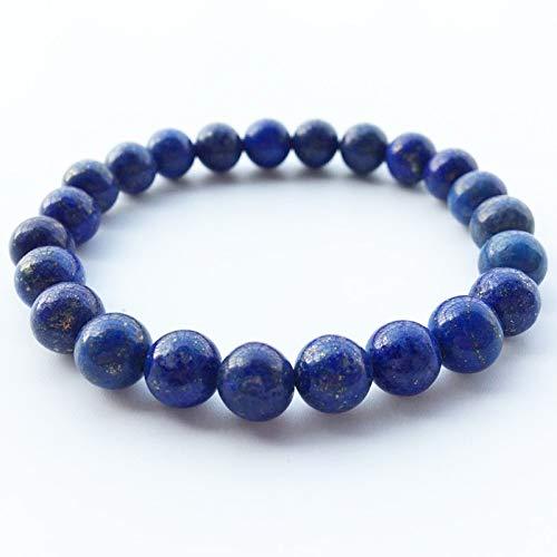 16mm 17.5cm maiconfrog Necklace for Women Elastic Round Natural Lapis Lazuli Stone Bracelets Bracelet Stretch Blue Gold Bracelets for Women Jewelry Prom Gifts