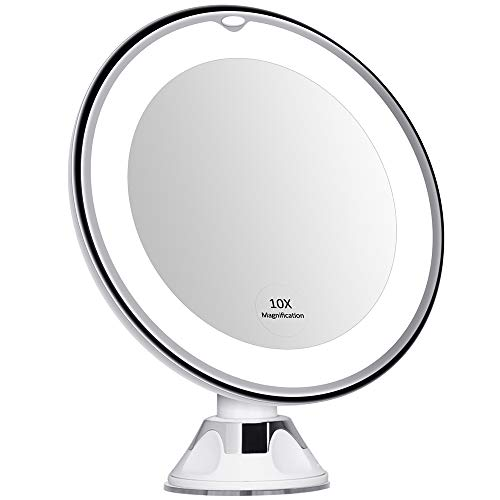 KEDSUM 6.8 10x Magnifying Lighted Makeup Mirror, Bathroom LED Magnification Vanity Mirror with Suction Cup and Lights, Rotates 360 Degrees, Daylight Color, Battery Operated