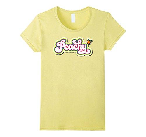 Womens Peachy Tshirt Cute Retro 60s 70s Hippie Summer Vibe Design XL Lemon