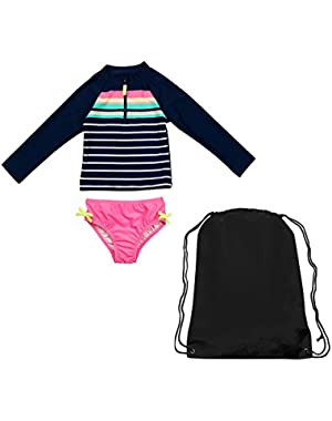 Girls Long Sleeve Rash Guard Swimsuit and Black Swim Bag