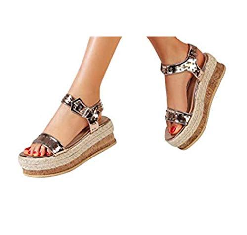 Cewtolkar Women Shoes Platform Sandals Waterproof Flip Flops Flat Slippers Buckle Sandals Sequin Flip Flops Gold