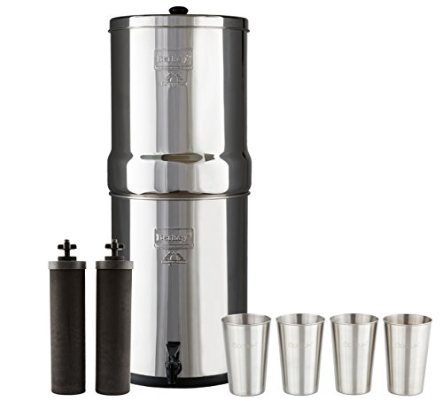 Imperial Berkey Water Filter System with 2 Black Purifier Filters (4.5 Gallons) Bundled with 1-set of 4 Boroux 12 oz Stainless Steel (Imperial Systems)