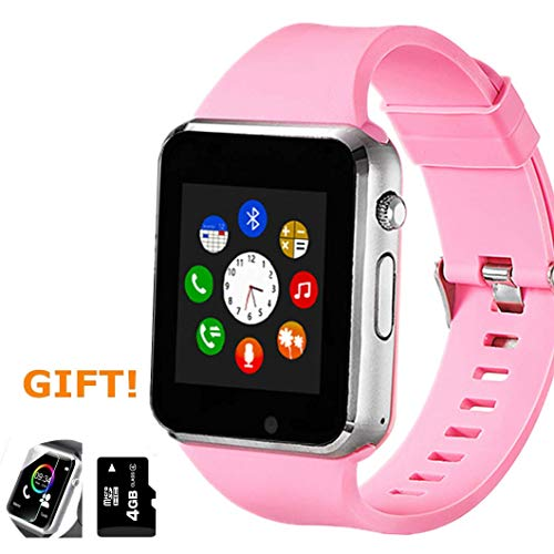 Amazqi Smart Watch, Smartwatch Phone with Camera TF Card Pedometer SIM Card Slot Music Player Compatible for IOS IPhone (Partial Functions) and Android Phone Samsung HUAWEI LG Sony for Women - Player Ladies Pink Watch
