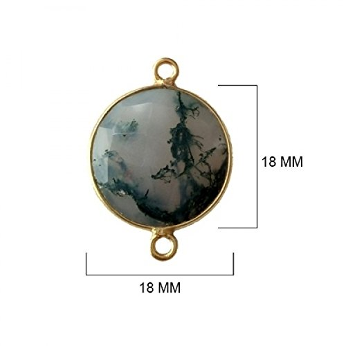 2 Pcs Natural Moss Agate Coin Beads 18mm 24K gold vermeil by BESTINBEADS, Natural Moss Agate Coin Pendant Bezel Gemstone Connectors over 925 sterling silver bezel jewelry making supplies ()