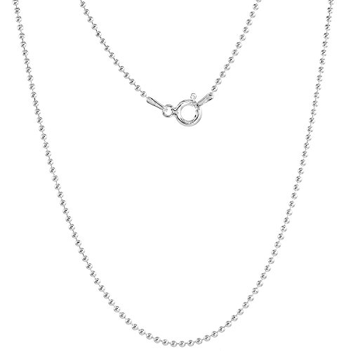 Sterling Silver Pallini Bead Ball Chain Necklace 1.5mm Thin Nickel Free Italy 18 inch