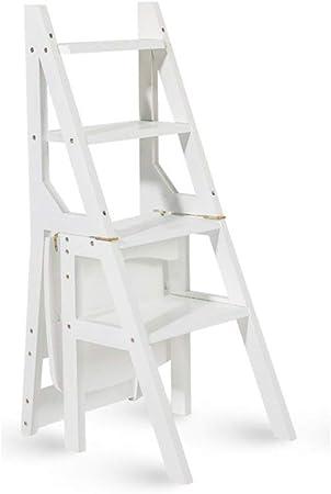 Taburetes escalera Escalera de Madera Blanca Escalera Plegable de Madera 4 Escalera de Escalera Multifuncional Escalera en Rack Biblioteca en casa Taburete de Paso Carga máxima 150 kg (Color : White): Amazon.es: Hogar