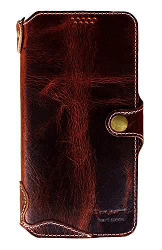 (Yogurt for iPhone 8 Plus/ 7 Plus Genuine Leather Wallet Cases Cover Handmade Dark Brown )