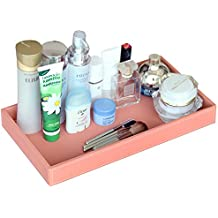 Ms.Box PU Leather Valet Tray Organizer, Makeup Catchall Tray for Birthday Gifts Presents, Cosmetic Holder Desktop Organizer for Home and Office, Jewelry Tray, Pink, 14 x 7.5 x 1.6 inches