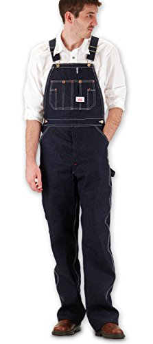 Round House Mens Classic Blues Denim - Button Fly - Overalls - Made in USA (Denim 72W x 34L)