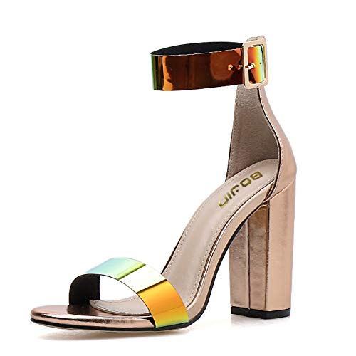 Women's High Heel Platform Dress Pump Sandals Ankle Strap Block Chunky Heels Party Shoes - 8.5 Gold