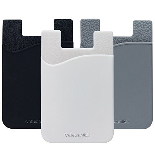 Cell Phone Wallet by Cellessentials : (For Credit Card & Id) | Works with almost every phone | Iphone, Android & Most Smartphones | 3 Pc Pack (Black, White, Grey)