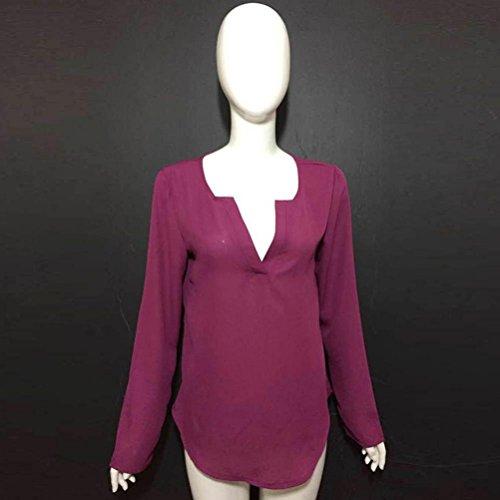 OverDose La manga larga floja de la blusa de la gasa de la manga de las mujeres de la manera remata la nueva blusa de la manera Púrpura