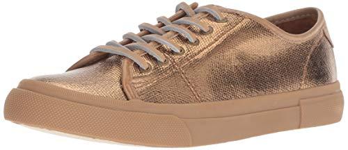 FRYE Women's Gia Canvas Low Lace Sneaker, Bronze, 10 M US (Designer Shoes Pink)