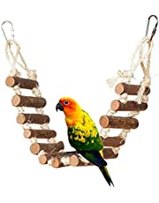Bird Pet Ladders, Parrot Climbing Ladder Bridge Wood Chewing Hanging Standing Swings Toys for Small Medium Parrots Parakeets, Cockatiels, Lovebirds, Sun Conures, Caique, Finches, Hamster